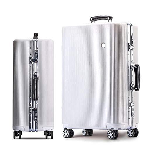 """AHJSN 20\""""24\"""" 26\""""28\"""" weiß Silber Rosa Gold Schwarzer aluminiumrahmen und PC Reise Trolley hardside rollgepäck Koffer mit 24INCH White"""