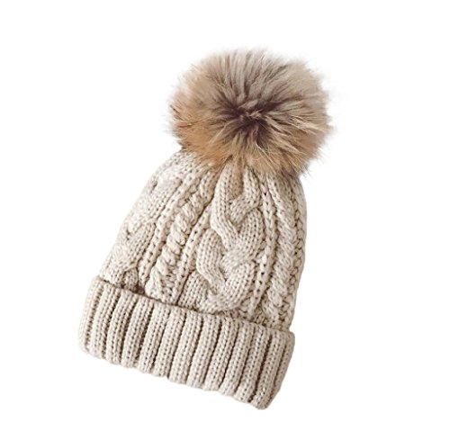 Tongshi Las mujeres invierno Crochet sombrero piel Cannabis lana Knit gorro mapache caliente (Beige)