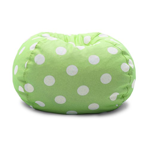 Big Joe Chartreuse Polka Dot Classic Bean Bag Chair, White