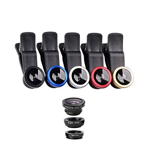 Mein HERZ Lentes para Móvil Cámara para Teléfono Kit, 5 Pcs Universal Phone Cameras Lens Kit, 0.67X Lente Gran Angular 180 ° + 10X Lente Macro Clip-on Lente, Compatibilidad Universal