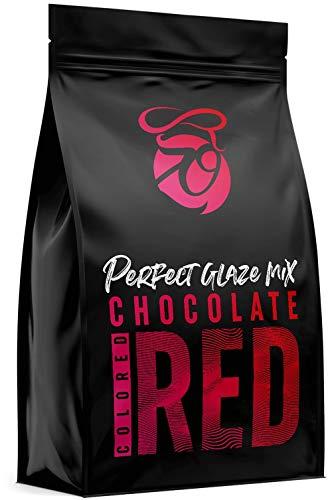CAKEZO   PERFECT GLAZE Chocolate Mix RED, Mirror Glaze – Torten-Spiegelglasur mit hochwertiger Schokolade 750g