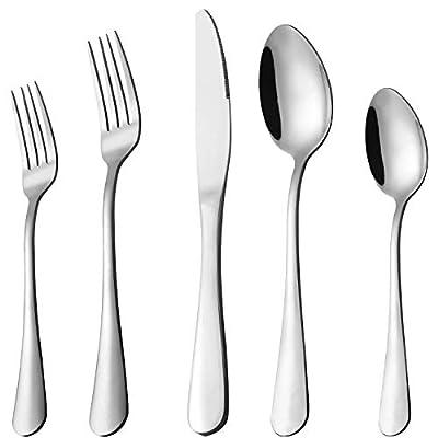 Silverware Set, 40-Piece Flatware Set, Stainless Steel Home Kitchen Hotel Restaurant Tableware Cutlery Set, Service for 8,Include Knife/Fork/Spoon,Mirror polished, Dishwasher Safe