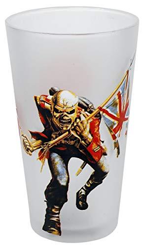 Iron Maiden Trooper Unisex Vaso Cerveza Blanco, vidrio,
