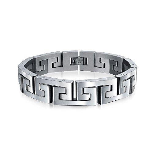 Bling Jewelry Fancy Geométrica Clave Griega Link Pulsera De Plata para Hombres De Acero Inoxidable De Tono