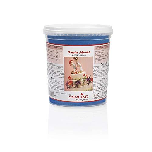 Saracino Modellierpaste Modellierfondant - Azurblau 1 kg Eimer