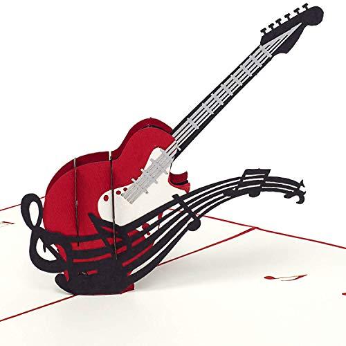 PaperCrush® Pop-Up Karte Gitarre [NEU!] - 3D Geburtstagskarte als Geschenk für Gitarristen oder Bassisten - Besondere Glückwunschkarte für Musikliebhaber, Konzert oder Gitarren Gutschein
