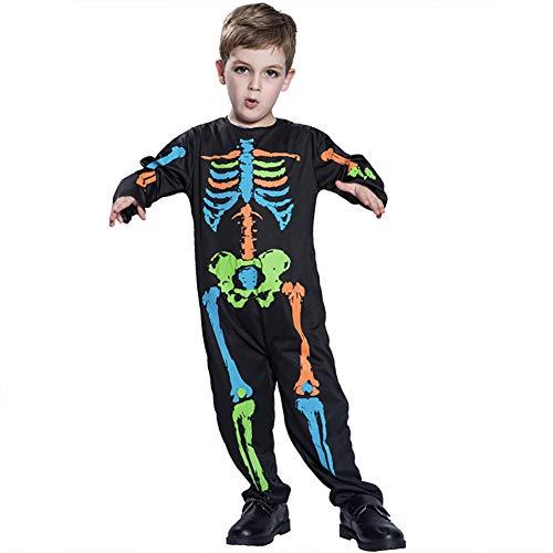 Asien 1 Piezas Mono de Esqueleto para nios de Halloween Body Cosplay para nios Disfraz de Fiesta Colorido 3D para nios y nias(S)
