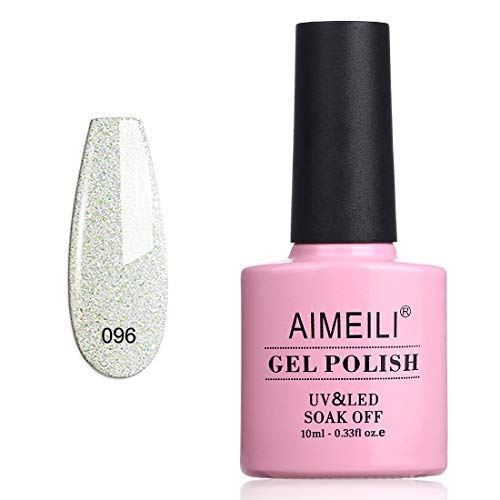 AIMEILI UV LED Gellack ablösbarer Gel Nagellack Weiß Glitzer Gel Nail Polish - Dancing Little Snow...