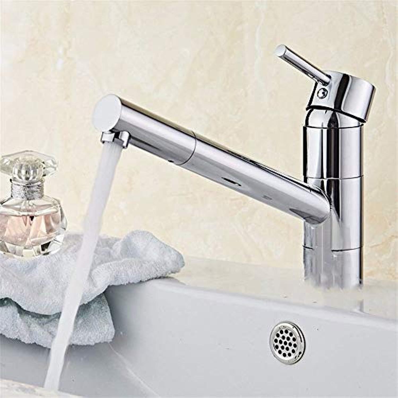 HUAIX Home Waschbecken-Mischbatterie Badezimmer-Küchen-Becken-Hahn auslaufsicher Wasser sparen Badezimmer Voll ausgestattete Küchen drehen warmes und kaltes volles Kupfer-Einloch-Bad
