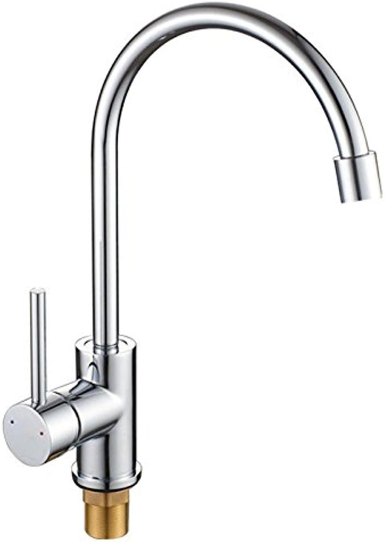 MNLMJ Moderne einfacheKupfer hei und kalt Spülbecken Wasserhhne Küchenarmatur Kupferrohr drehen Einhand-Einloch-Mischventil Waschbecken Pool Dual-Use-Wasserhahn hei und kalt Spülbecken Wasserhahn