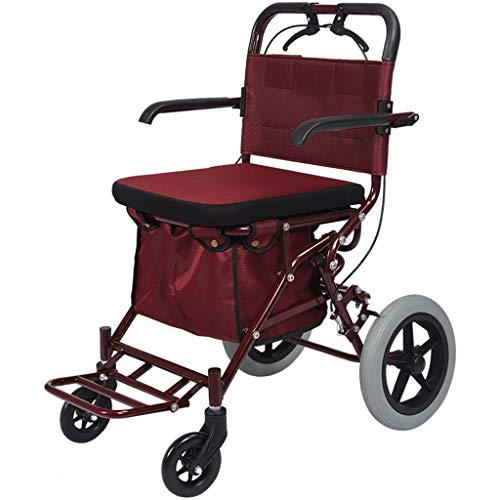 LXCS Portatile della Famiglia Trolley, Pieghevole con sede Carrello, Fare la Spesa Rimorchio, Salire Le Scale Trolley Trolley Bagaglio (Color : Red)