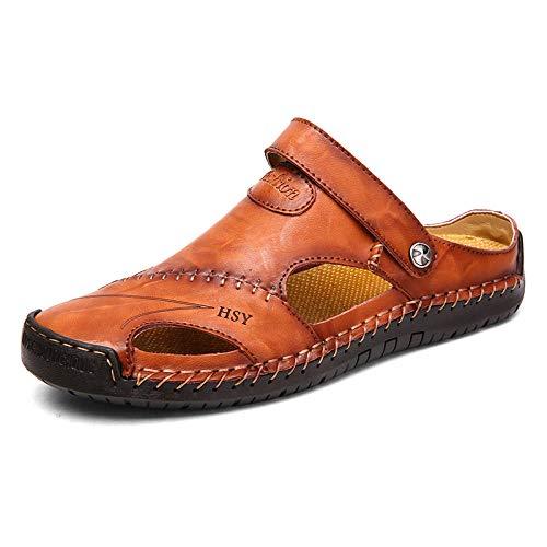 MLLM Piscina de Gimnasio Zapatillas,Sandalias Casuales de los Hombres, Zapatos de Playa de Cuero al Aire Libre-Red-Brown_48,Piscina Playa luz Antideslizante Sandalias