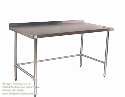 """18"""" x 96"""" Open Base All Stainless Table with Back Splash"""
