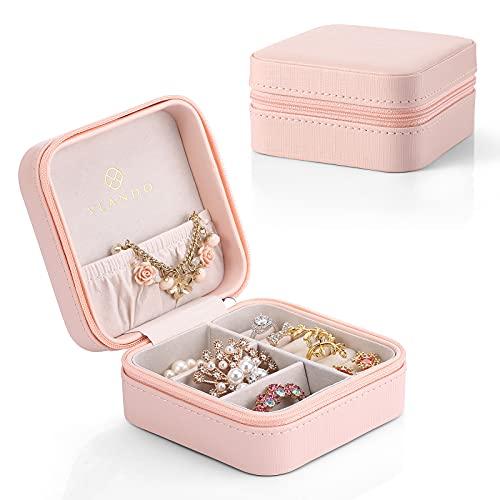 Vlando Small Travel Schmuckschatulle Aufbewahrungstasche für Ringe Ohrringe Halskette (Pink)
