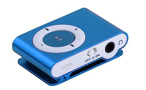 MOKE Mini Micro MP3 metallo di sostegno SD USB TF fino alla carta di 16GB Media Player di musica casuale per Sport e Corsa (scheda SD) (blu)