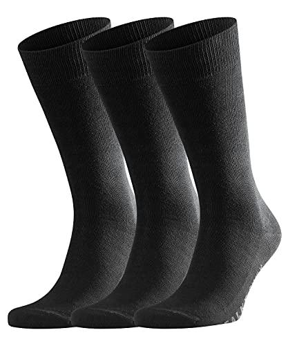 FALKE Herren Family 3-Pack M SO Socken, Blickdicht, Schwarz (Black 3000), 39-42 (3er Pack)
