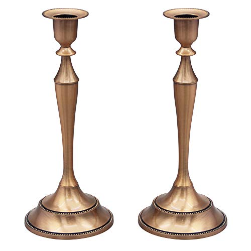 Viscacha Metal Candelabra Candlesticks Holder for Formal Events,Wedding,Church,Holiday Décor,Halloween Taper Candle Holder Stand Centerpiece Elegant Decoration Piece for Table,Set of 2,Copper