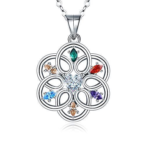 Collier Femme Celtique en Argent 925 Forme de Fleur Pendentif, Zircone Cubique Significative, Dessin original Bijoux pour Femme Cadeaux pour Maman