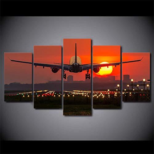wqavten 5 stuk canvas vliegtuig rode zonsondergang schilderijen Prints Landschap Poster modulaire woonkamer muur Art-20x35 20x45 20x55cm-Frameless