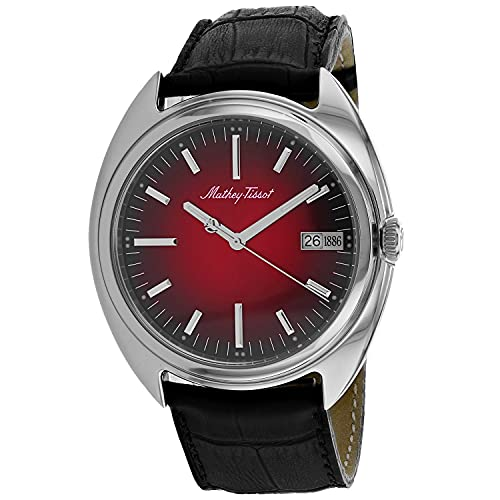 MATTHEY-TISSOT Correa de cuero de cuarzo de acero inoxidable para hombre, negro, 22 reloj casual (Modelo: EG1886AR)