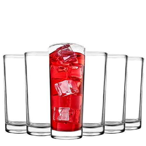 Tebery 6 Pack Clear Heavy Base Highball Glasses Drink Glasses Tumbler Beverage Set (11 Ounce)