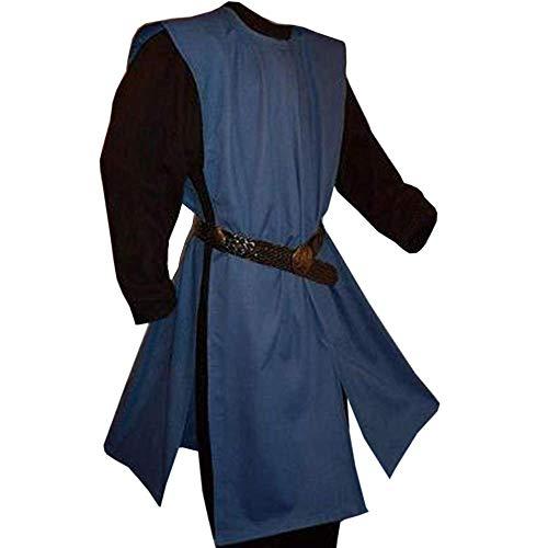 Gafeng Mens Medieval Knight Costume Templar Warrior Crusader Cloak Coat Robe Retro Halloween Tunic LARP Tabard Cosplay Blue