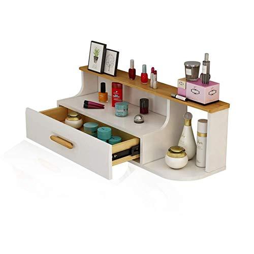 FJIE Make-up dressoir opbergtafel, zwevende muur plank met laden hal opbergplank, decoratieve muur planken opslag Display boek plank