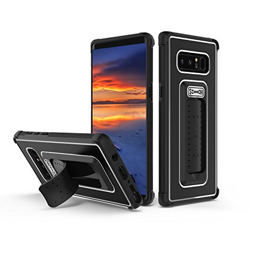 Scooch Wingman | Kickstand Case for Samsung Galaxy Note 8 [10 ft Drop Protection] [Two-Way Stand] Shockproof Protective Cover & Compatible with Magnetic Car Mounts 6.3 Inch (Black)