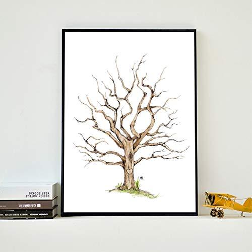 GUDOJK Peinture sur toile murale avec empreintes digitales, arbre généalogique, peinture sur toile, livre d'or pour fête prénatale, mariage, livre d'or 50 x 70 cm