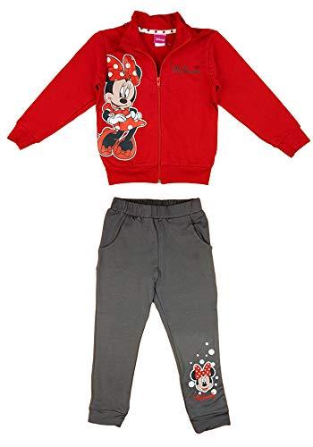 Disney Baby Mädchen Jogging-Freizeit-Sport WARM Baumwolle 2-teiliges Set Sweat-Jacke Reissverschlussjacke Freizeithose, 74 80 86 92 98 104 110 Minnie Größe 116