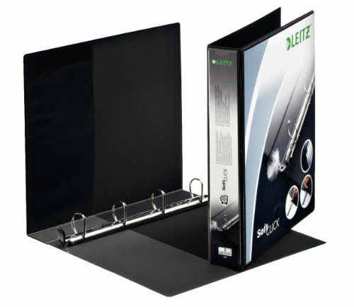 Leitz 42020095 Ringbuch SoftClick, A4, 2 Außentaschen, 4 Ringe, 30 mm, schwarz