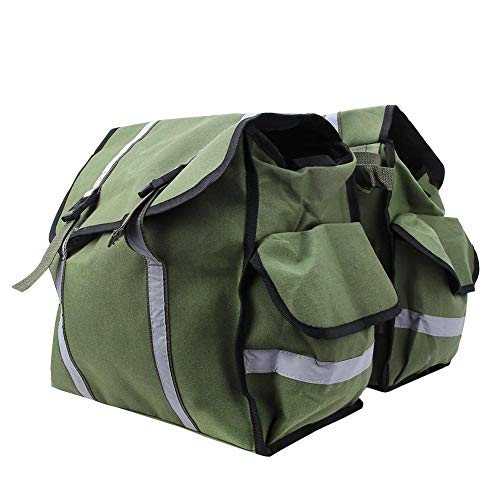 MAGT Bike Tail Bag Bike Panniers, Waterproof Waxed Canvas Reflective Stripe Bike Tail Double Bag Large Capacity Double Bike Panniers Storage Bags for Motorcycle Bicycle