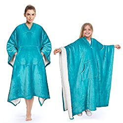 powerful Portable Sherpa blanket. A luxurious fleece poncho that is super soft and comfortable for adult women, men and children.