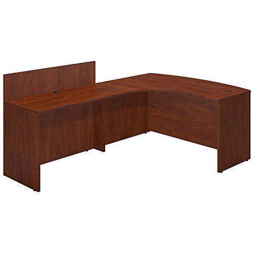 Bush Business Furniture Series C Elite 60W x 43D Left Hand Bowfront Desk Shell with 48W Privacy Return in Hansen Cherry