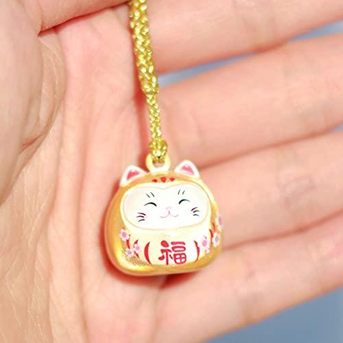 TSP Lindo llavero japonés con diseño de gato de la suerte Maneki Neko Trinkets para teléfono, colgantes de llaves de coche, llavero para orar y regalo para pareja (color C: C)