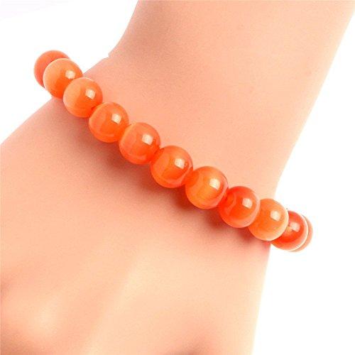 SHG-Store Kugle Armband aus Katzenauge-Edelstein Modisch Geschenk für Frau mit freiem Geschenk-Kasten Pro Strand 7.5 inch (10MM Orange)