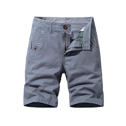 Cargo-Shorts Herren Sommer Button Freizeithose Multi-Pocket Overalls Shorts Fashion Kurze Hose, Grau, 30W