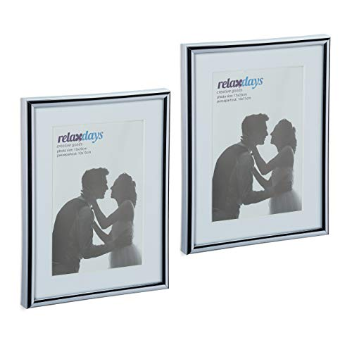 Relaxdays Bilderrahmen 2er Set, 15x20 cm, Passepartout 10x15 cm, Glasscheibe, Fotorahmen zum Stellen & Hinhängen, Silber