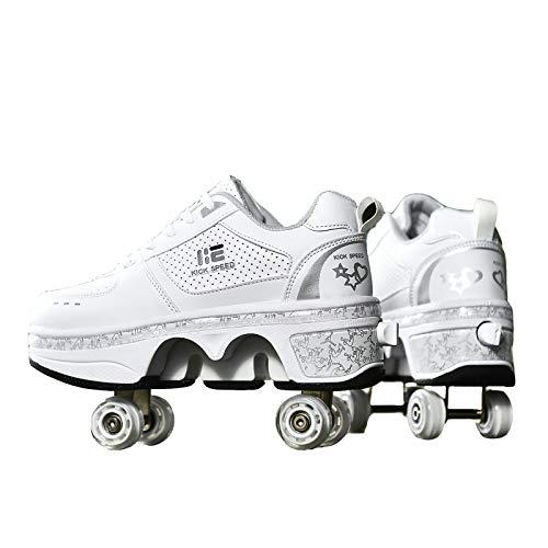 KUXUAN Rollschuhe Mädchen/Jungen/Kinder/Jungen,Schuhe Mit Rollen Skateboardschuhe Kinder,Quad Skate Rollerskates Für Damen,2 In 1 Inline Skates Herren,White-EU35=UK2
