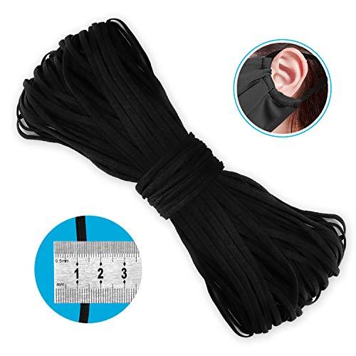 Ponsey Gummiband Flache Gummiband Nähen 4mm Gummikordel Schwarz Gummilitze Elastisches Seil für Basteln Kleidung Stricken Handwerk Kunstwerk