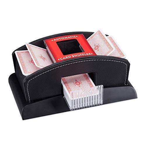 Relaxdays, schwarz Kartenmischer Elektrisch, Leder, 2 Decks, Mischgerät zum Mischen von Karten, Kartenmischmaschine, Standard