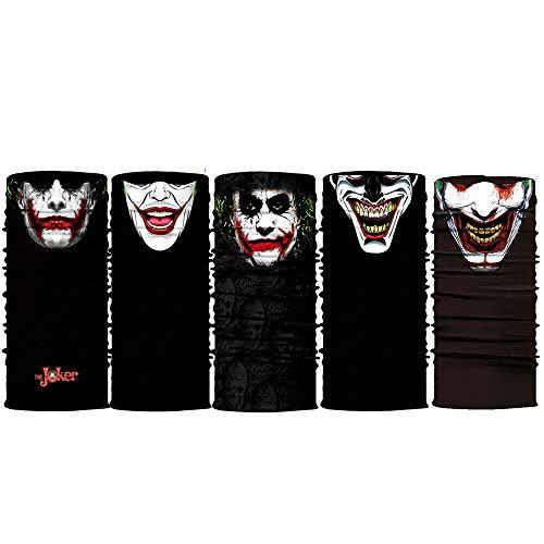 5pcs Joker Face Scarf Sun Neck Gaiter Balaclava Neckerchief Bandana Headband Black, Medium