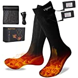 Vipoo Heated Socks, Upgraded Rechargeable Battery Thermal Sock for Men & Women, Winter Warm Cotton Socks 3 Levels Settings 10 Hours Heating, for Outdoor Indoor Camping/Fishing/Cycling/Skiing-Black