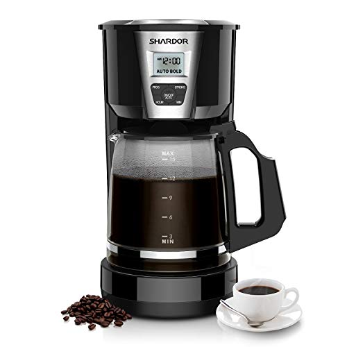 SHARDOR Drip Coffee Maker, 12-15 Cup Programmable Brew Coffee Machine 3.0, Automatic Start and Shut Off, Brew Strength Control, Warming Plate, Glass Carafe, 60oz, Black