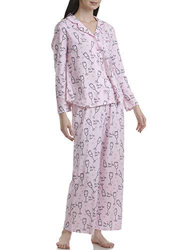 Karen Neuburger Women's Long-Sleeve Girlfriend Pajama Set PJ, Pop Fiz Clink Pink, 2X