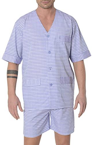 El Búho Nocturno - Pijama Hombre Corto Judo Premium Dobby Cuadros Violeta 50% bambú poliéster Talla 5 (XL)