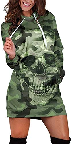 Alessioy Sudadera de manga larga con capucha para mujer con capucha larga con capucha y diseño de camuflaje de moda de moda de cráneo suéter con capucha para otoño e invierno con cordón, verde, L
