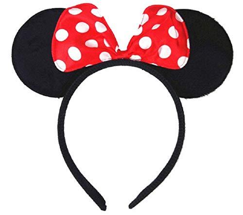 Hoofdband met oren - rode strik - witte stippen - accessoires - jurk - muis - meisje minnie