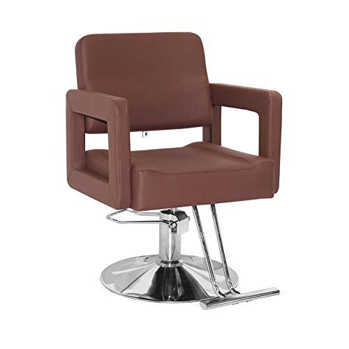 ZYF Silla de Oficina Giratoria Sillas Silla de peluquería Silla giratoria salón de Belleza Peluquero Profesional de peluquería Elevador hidráulico Escritorio Ergonómica (Color : Brown)