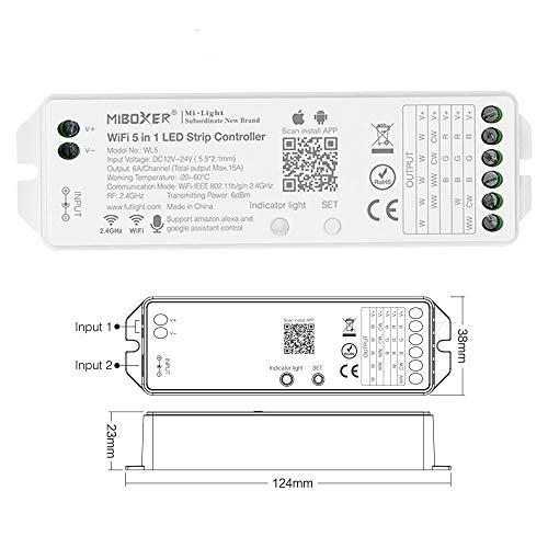 MiBoxer Mi-Light WLAN WL5 - Controlador 5 en 1 para tiras de luz LED monocromáticas, CCT, RGB, RGBW, RGBWW, RGB+CCT 12-24 V, funciona con Amazon Echo Alexa, Google Assistant con módulo Tuya